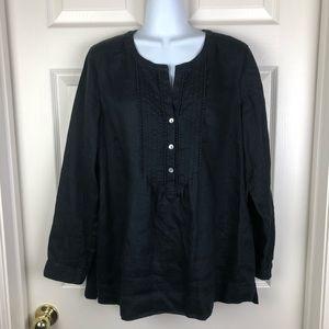 J Jill Love Linen Black Tunic Top Blouse Medium